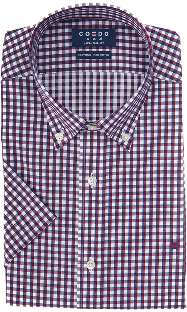 Coedo Button Down Burgundy Gingham