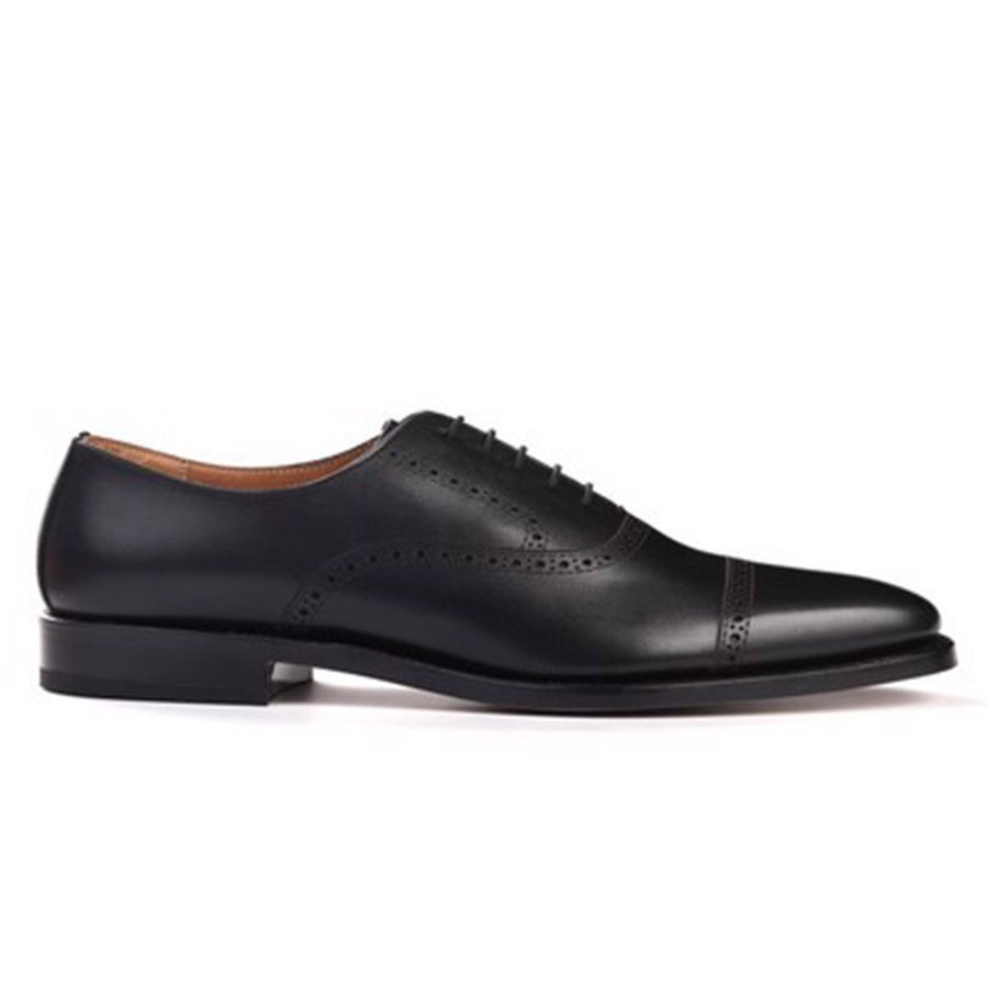 REGAL Black Semi Brogue Oxford Dress Shoes