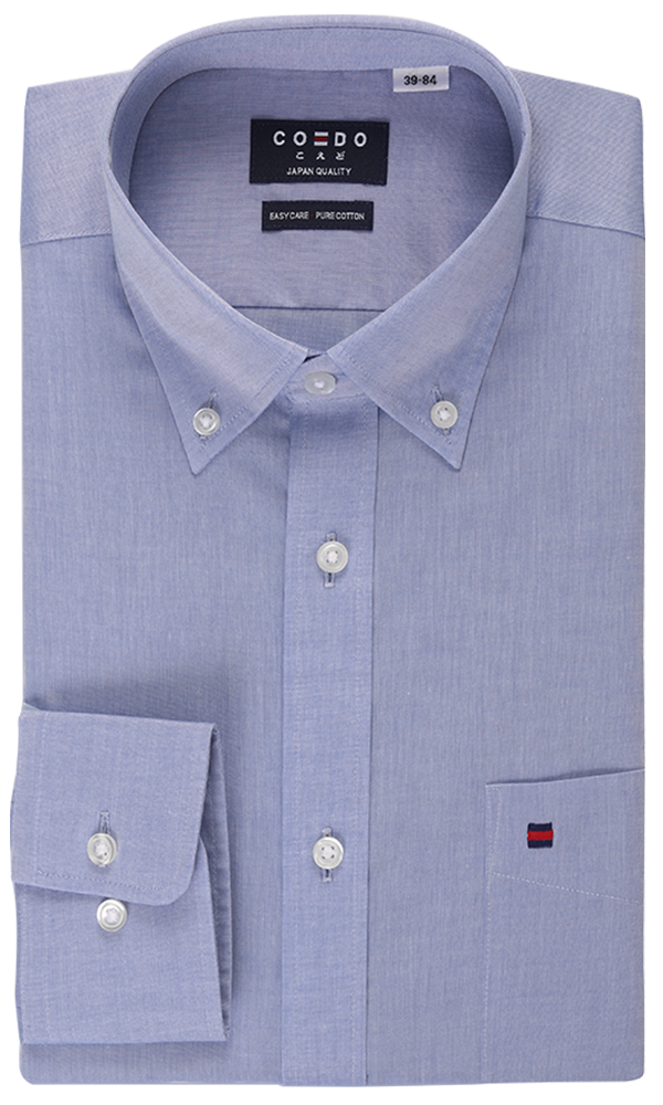 COEDO Button Down Poplin Blue Chambray Pocket