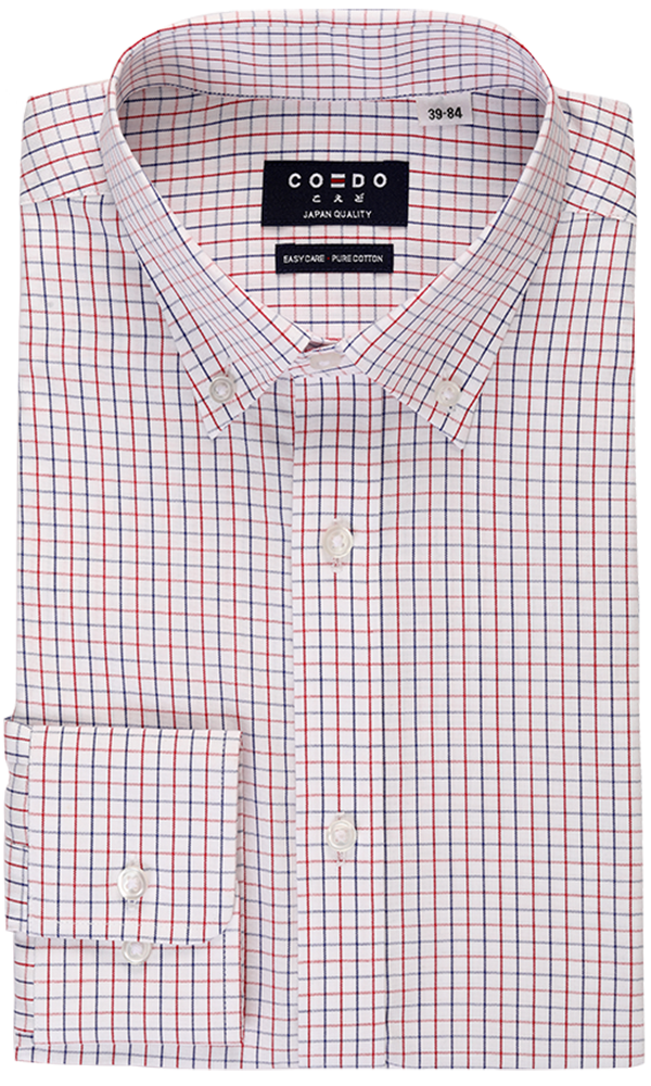 COEDO Button Down Poplin Blue*Red Pin OX