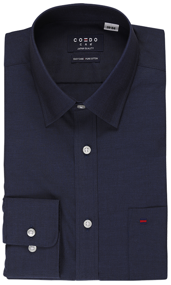 Coedo Regular Poplin Navy Solid Pocket
