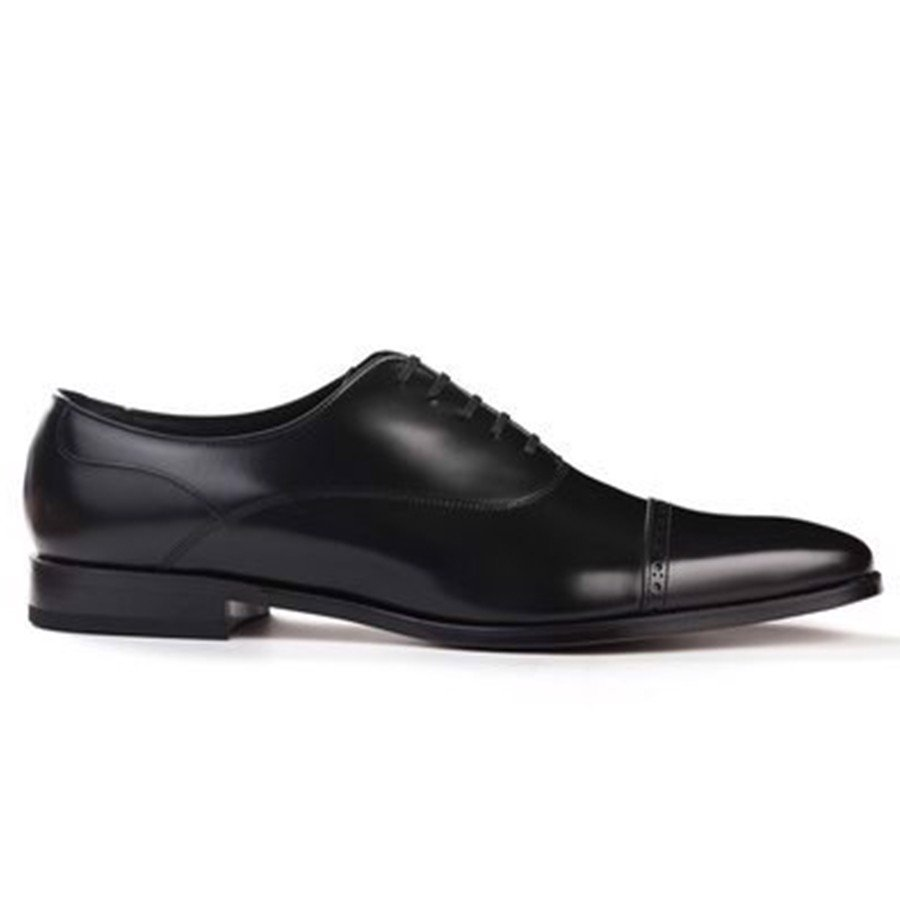 REGAL Black Cap Toe Quarter Brogue Oxford Dress Shoe