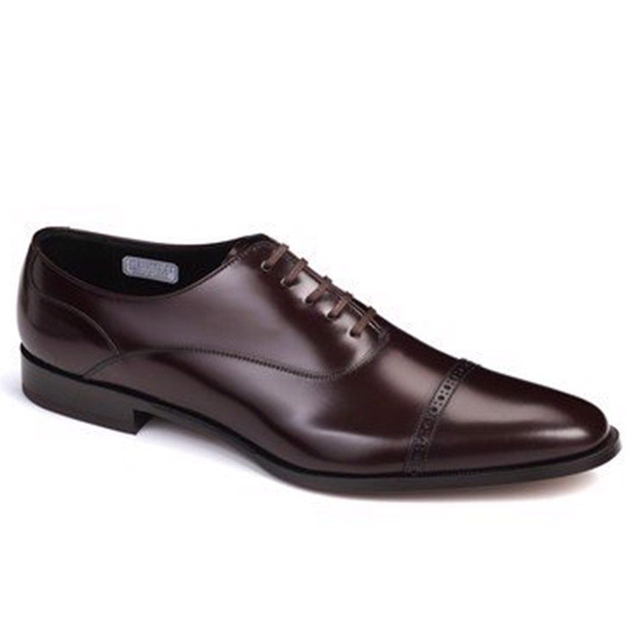 REGAL Dark Brown Cap Toe Quarter Brogue Oxford Dress Shoe