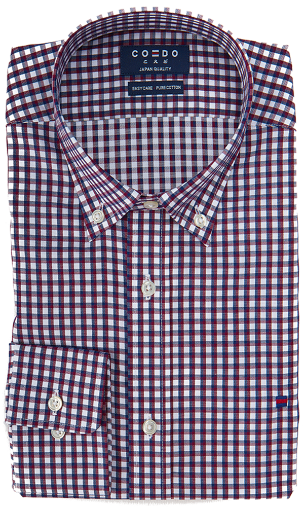 Coedo Button Down Purple Gingham Pocket