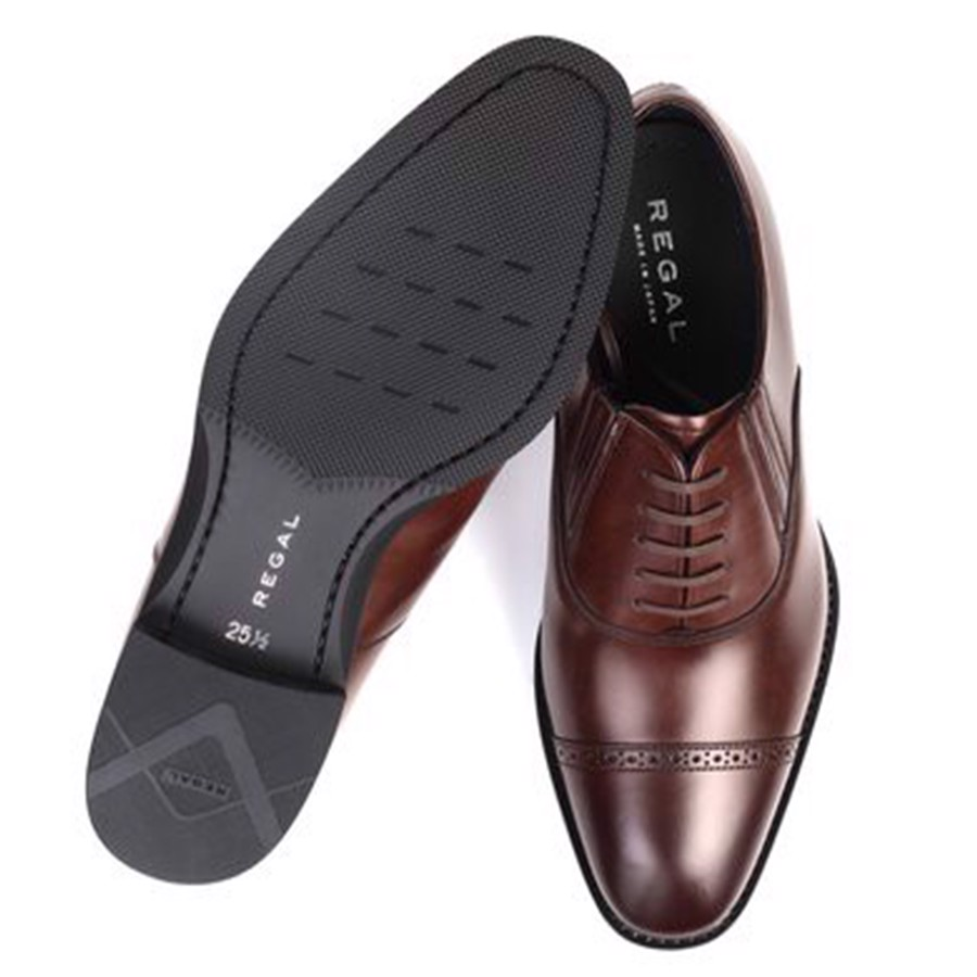REGAL Dark Brown Captoe Oxford Dress Shoe