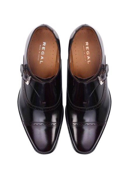 REGAL Dark Brown Single Monk Straps Dress Shoe