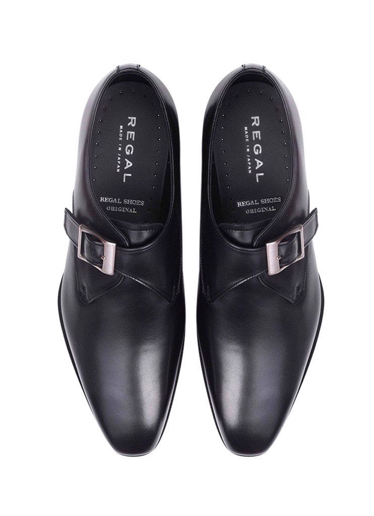 REGAL Black Single Monk Strap Dress Shoe