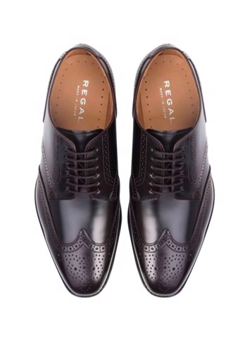 REGAL Dark Brown Wingtip Derby Dress Shoe