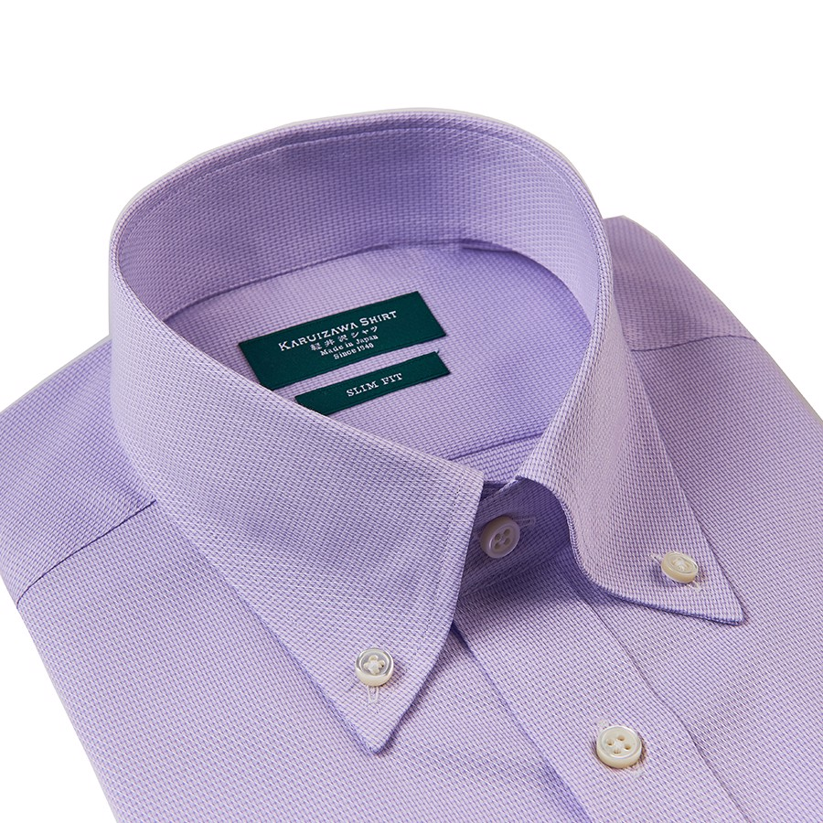 KARUIZAWA Button Down Dobby Purple Twill