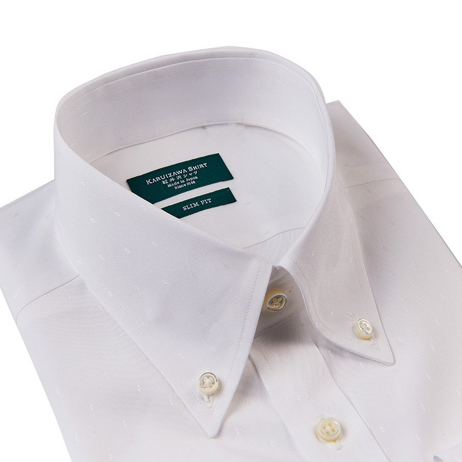 KARUIZAWA Button Down Dobby White Twill
