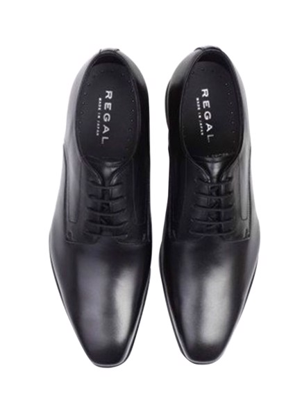 REGAL Black Plain Toe Derby Dress Shoe