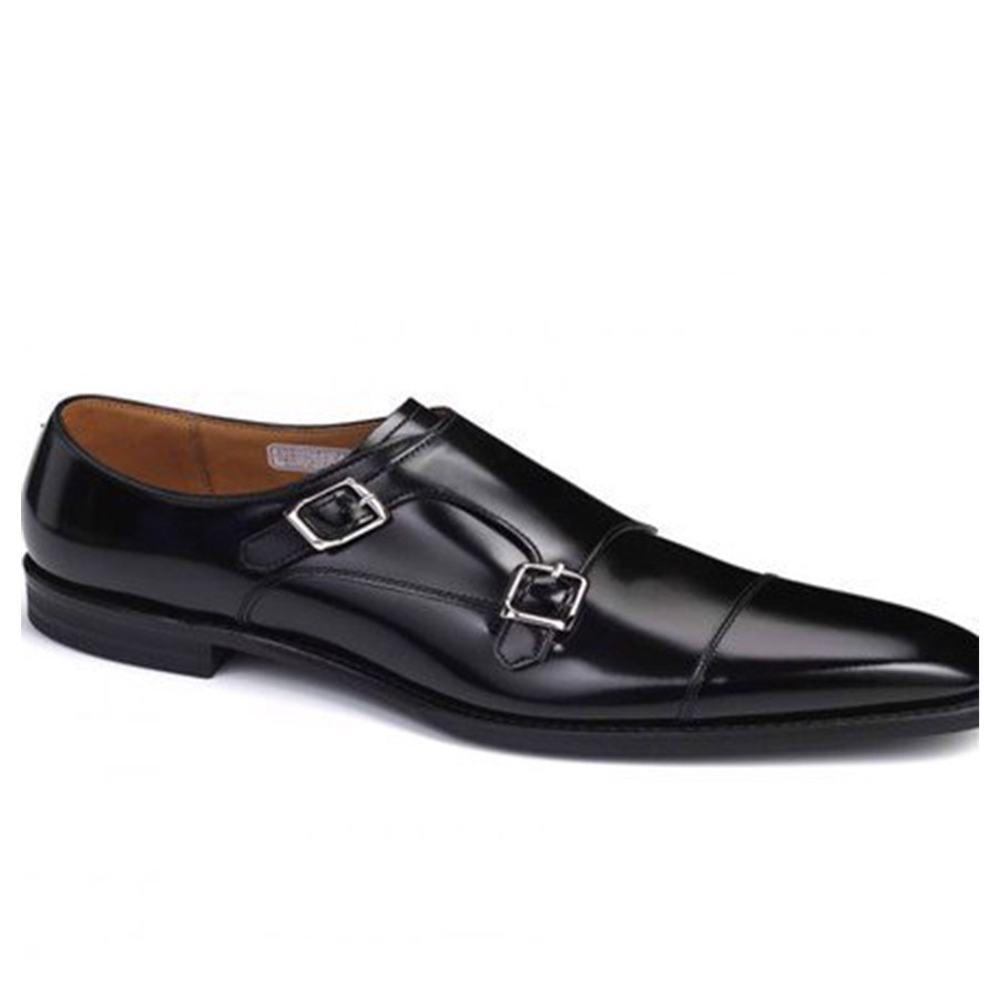 REGAL Black Double Monk Straps Dress Shoe