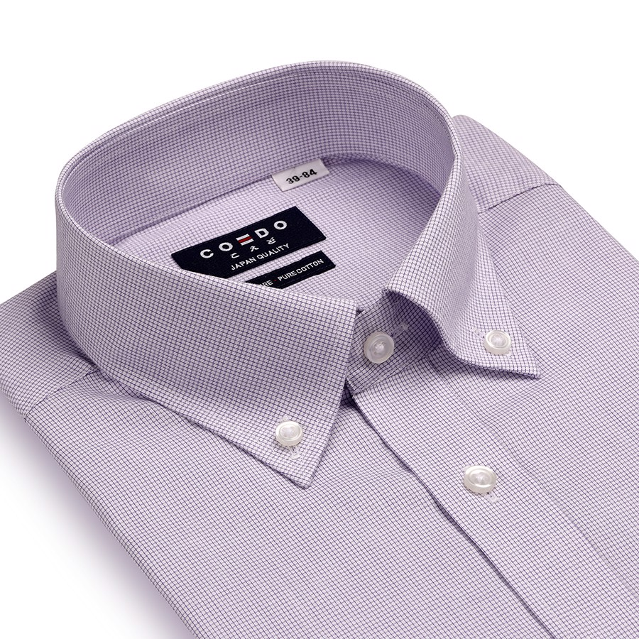 COEDO Button Down Poplin Purple Graph Check