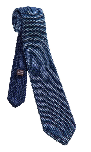 FRANCO SPADA Blue Silver Knit Silk Tie