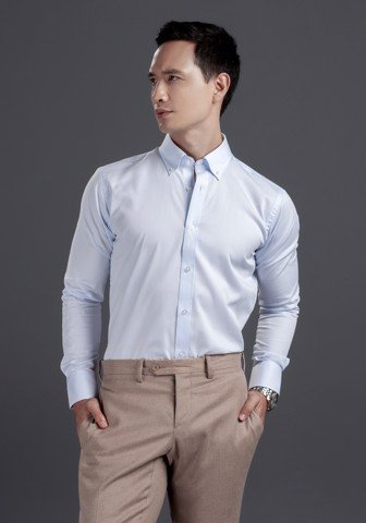 COEDO Button Down Dobby Saxe Twill