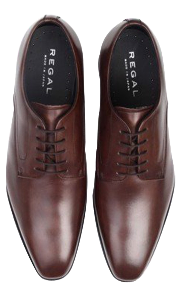 REGAL Dark Brown Plain Toe Derby Dress Shoe