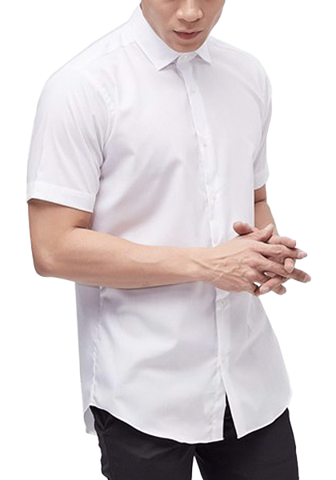 KARUIZAWA Semi Wide Dobby White Dress Shirt