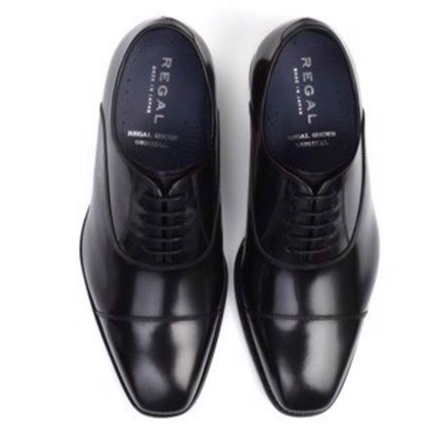 REGAL Black Cap Toe Oxford Dress Shoe
