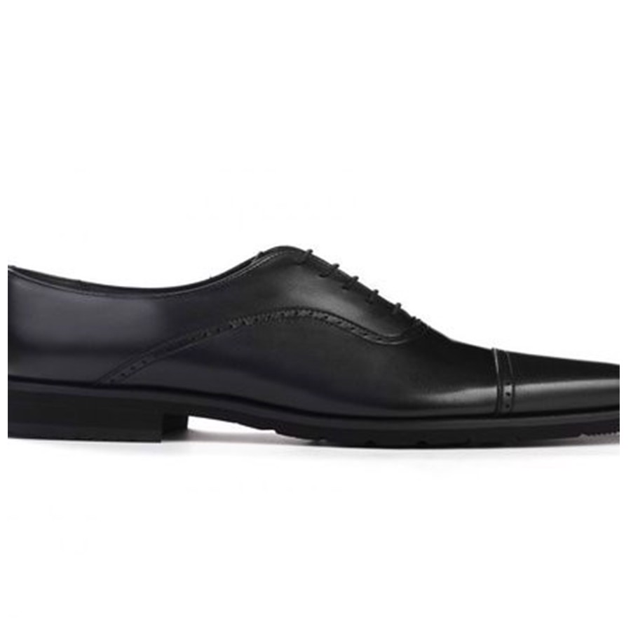 REGAL Black Cap Toe Quarter Brouge Oxford Dress Shoe