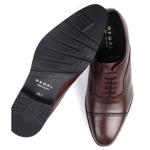 REGAL Dark Brown Cap Toe Quarter Brogue Dress Shoe