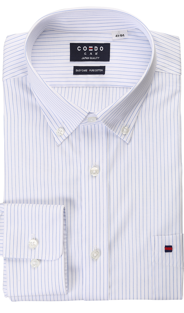 COEDO Button Down White Blue Saxe Pocket