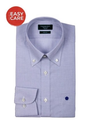 Button Down Navy Small Poplin Check Dress Shirt