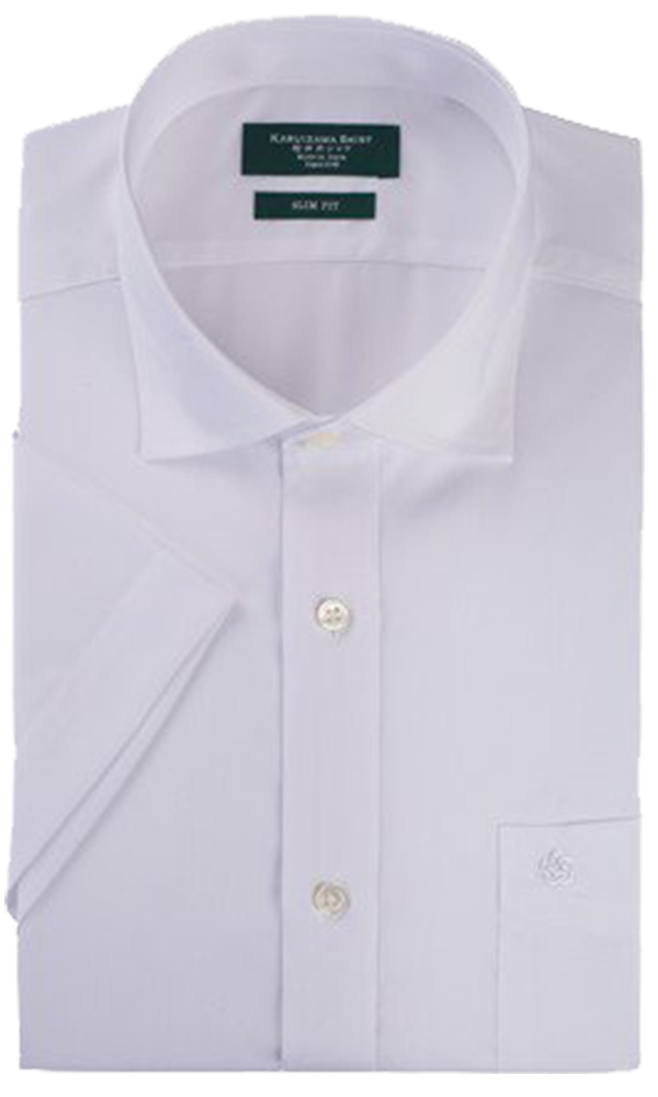 KARUIZAWA Semi Wide White Dobby Dress Shirt