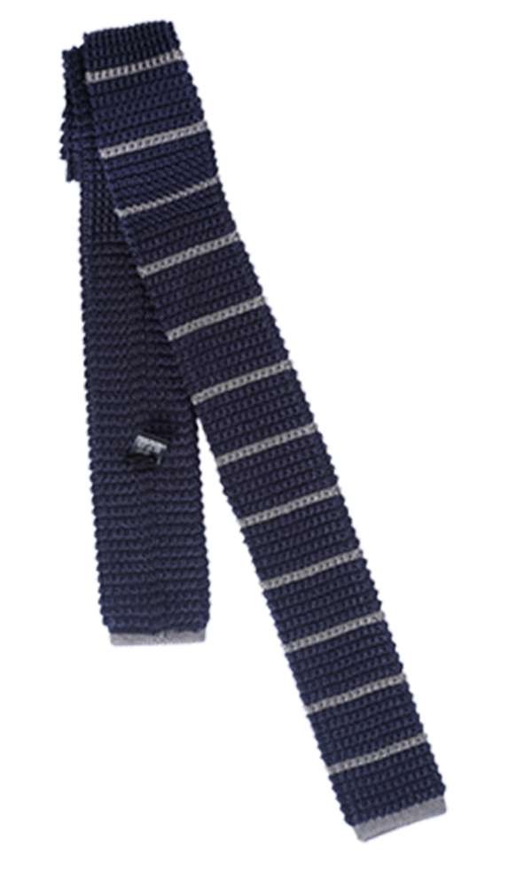 FRANCO SPADA Navy Knit Tie Horizontal