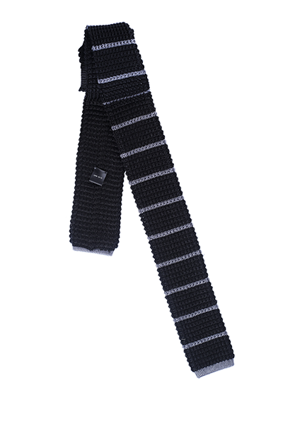 FRANCO SPADA Black Knit Tie Horizontal