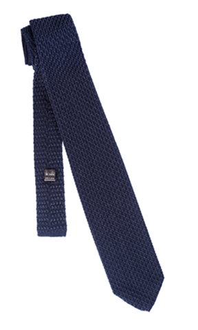FRANCO SPADA Navy Knit Tie Herringbone