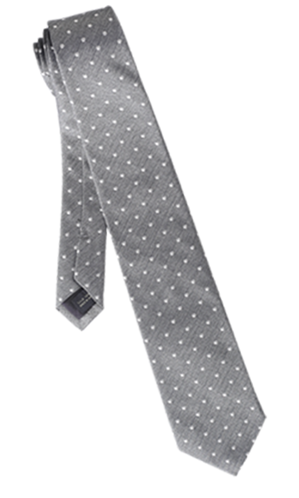 FRANCO SPADA Grey Silk Polka dots