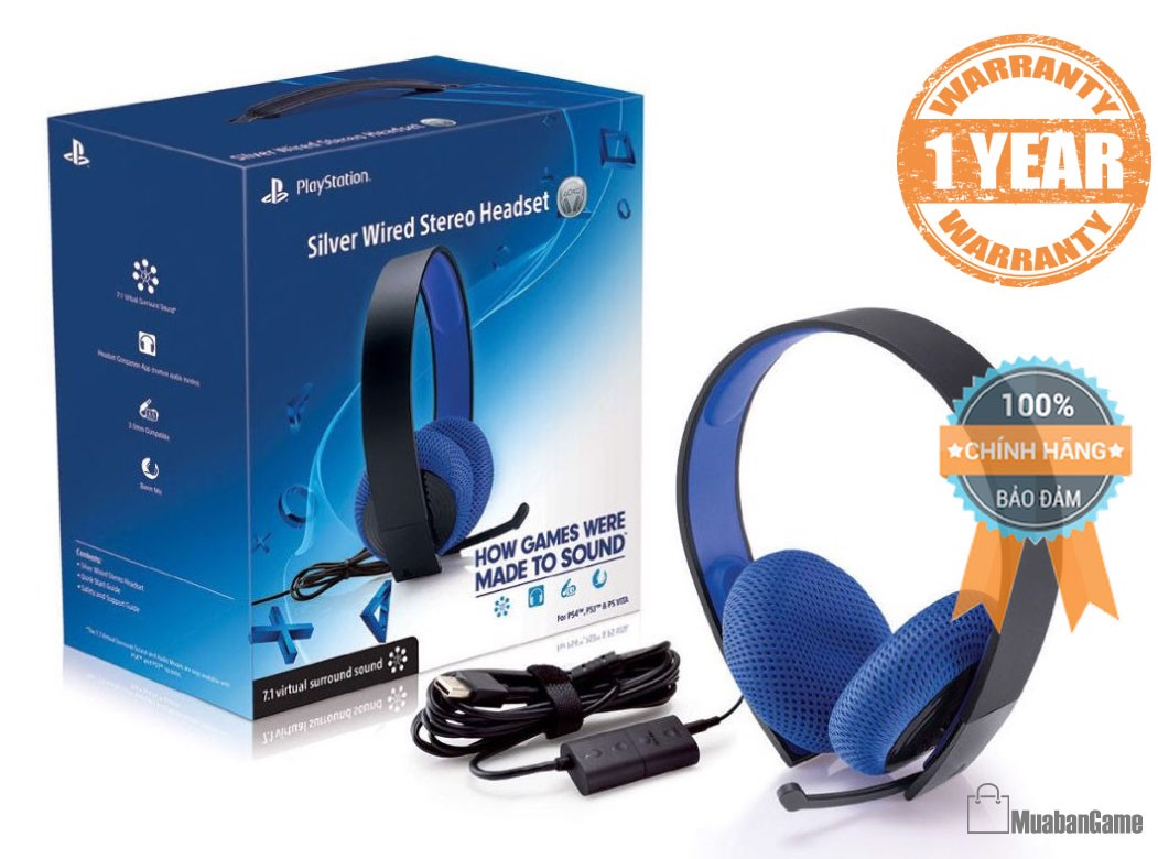 Tai nghe Silver Wired Stereo Headset PS4 [Sony]