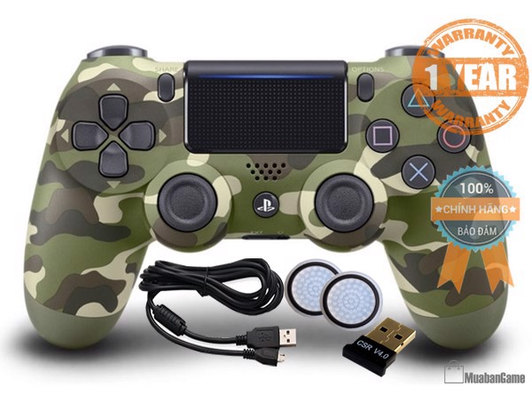Tay PS4 - DS4 Green Camouflage [Sony VN] COMBO