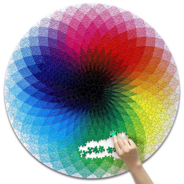 Xếp hình Puzzle 1000 Pieces - Round Jigsaw Puzzles, Rainbow Palette Puzzles, Intellectual Game for Adults to Reduce Pressur