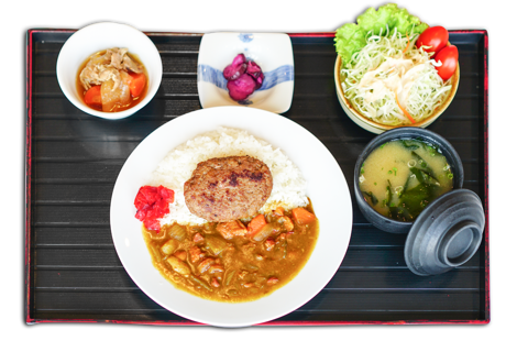 ハンバーグカレー / Cury and rice with hamburger | Cơm cà ri bò với hamburger