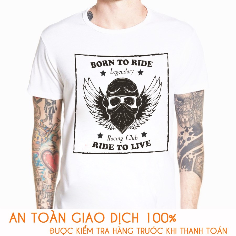 Áo thun nam RACING TEAM  BORN TO RIDE - Vải Cotton Thái - M765