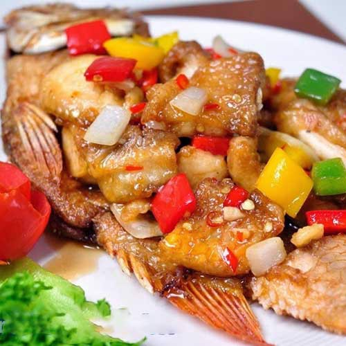 ปลาสามรส<br>Cá 3 vị<br>Fried fish topped with sweet, sour and hot sauce