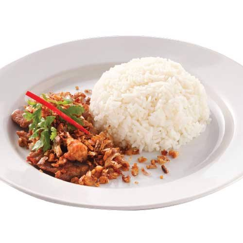 ข้าวหมูกระเทียม<br>Cơm thịt heo xào tỏi<br>Fried pork with garlic and pepper corns over rice