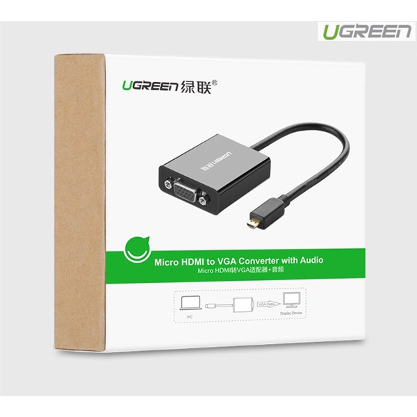 CABLE UGREEN MICRO HDMI TO VGA 40268