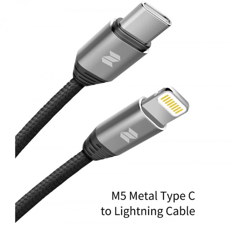 CABLE ROCK USB TYPE-C TO LIGHTNING M5 BK