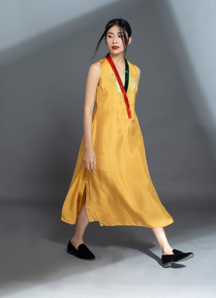HABOTAI SILK MAXI DRESS/GOLD