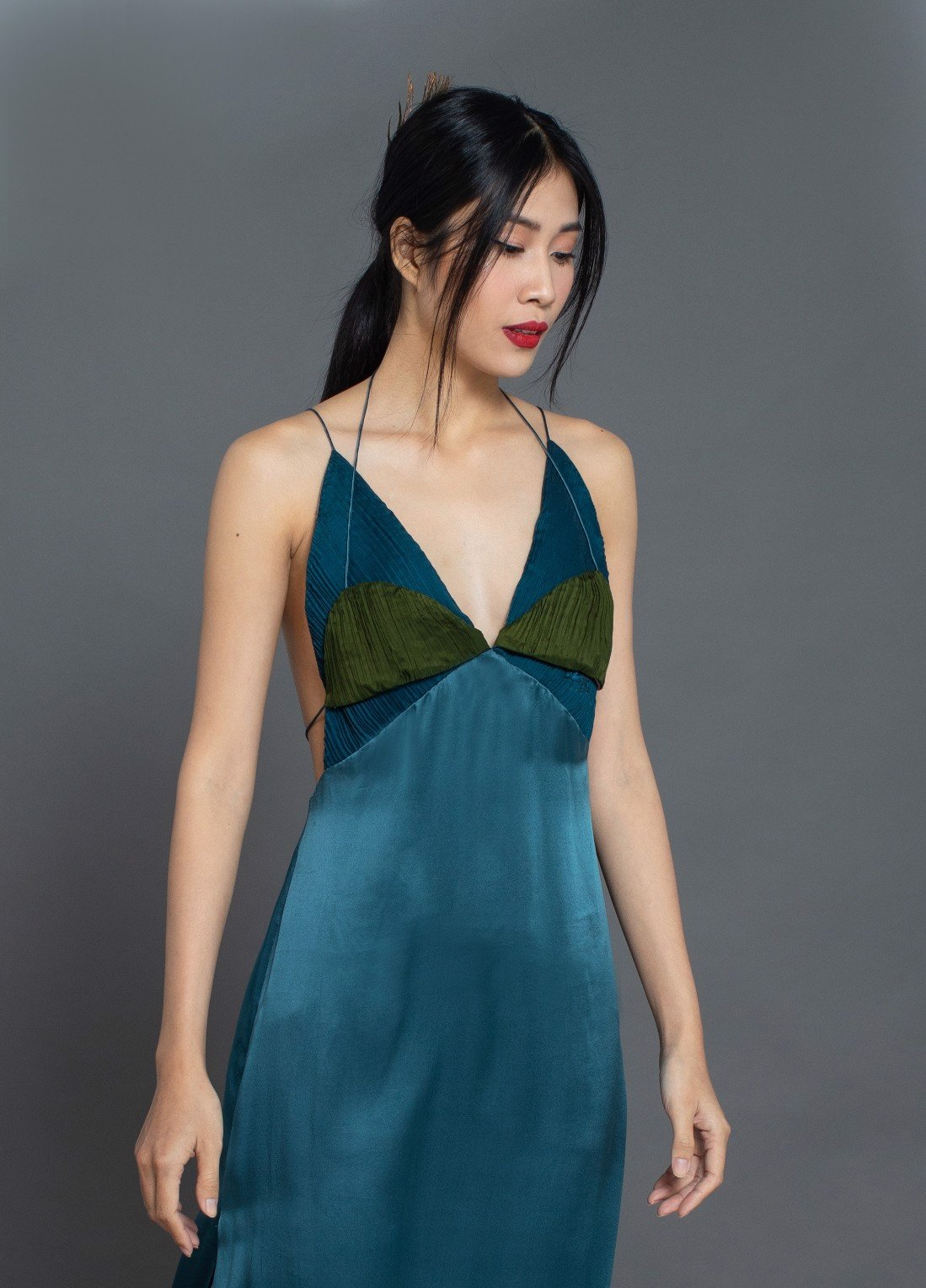 SATIN SILK SLIP DRESS/TEAL