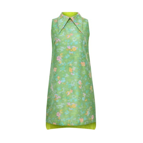 JACQUARD FLOWER PATTERN SILK DRESS
