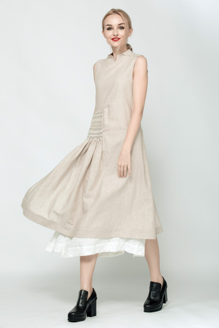 Asymmetric Smocking Linen Dress
