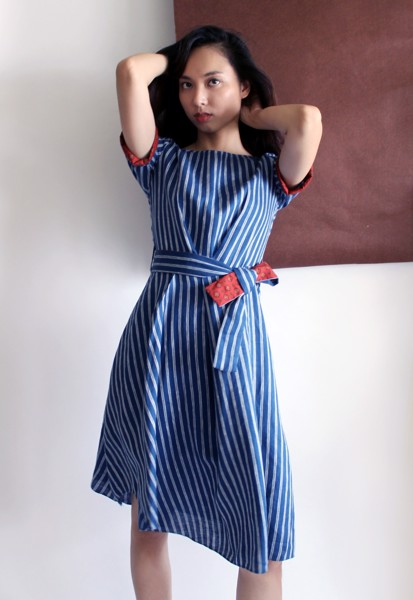 ASYMMETRIC STRIPE LINEN DRESS