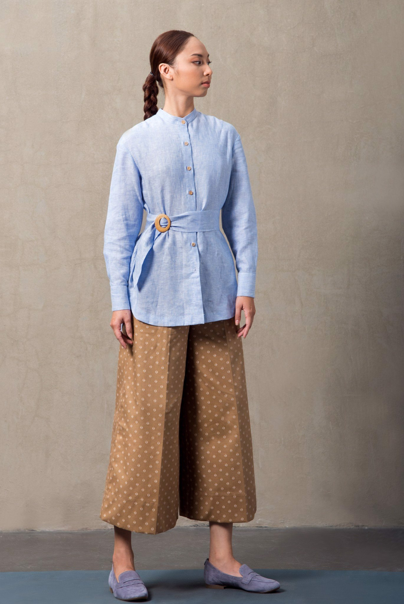 LONG SLEEVE LINEN BLOUSE WITH BELT