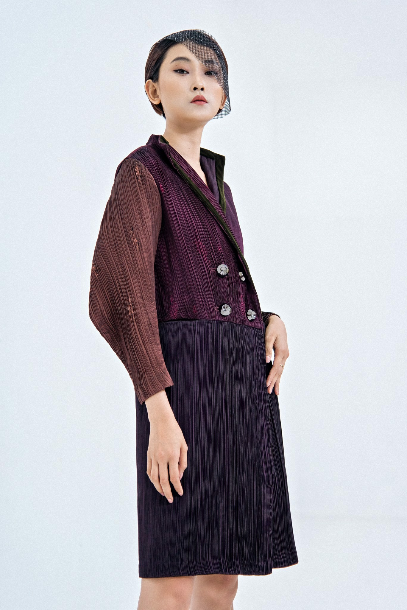 PLEATED SILK COAT DRESS