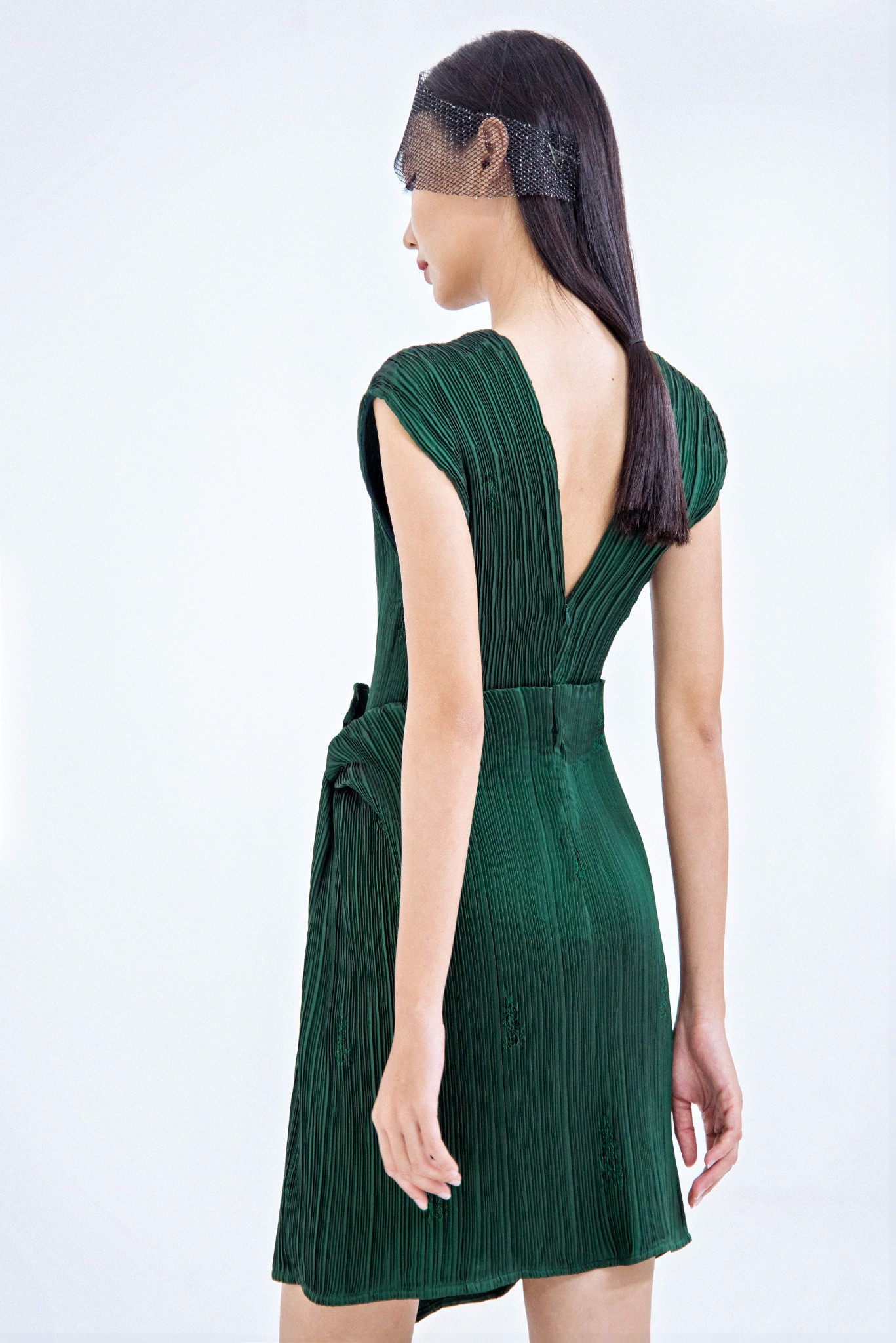 ASYMMETRIC PLEATED DRESS
