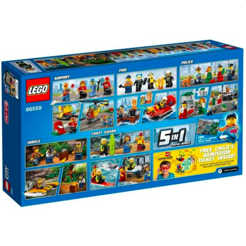 [CÓ SẴN] Lego City 66559 Ultimate LEGO City Hero Pack 5 in 1 Coast Guard Jungle Fire Police Airport