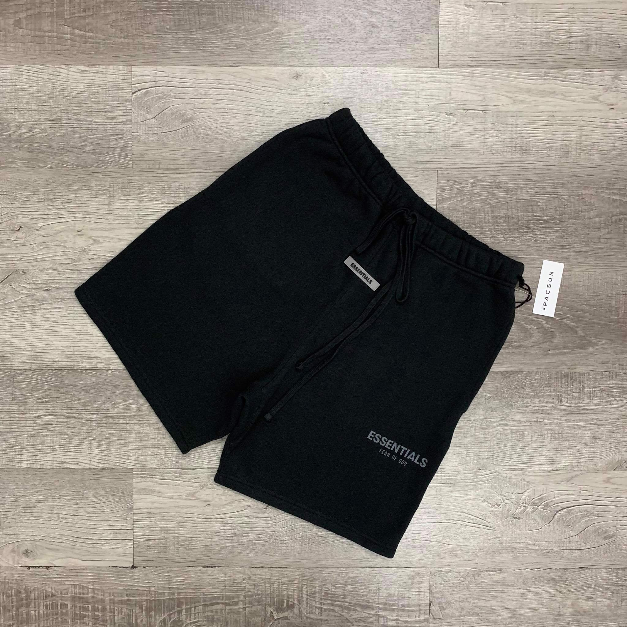Quần - Fear Of God Essentials - Fleece Shorts Weathered - Black